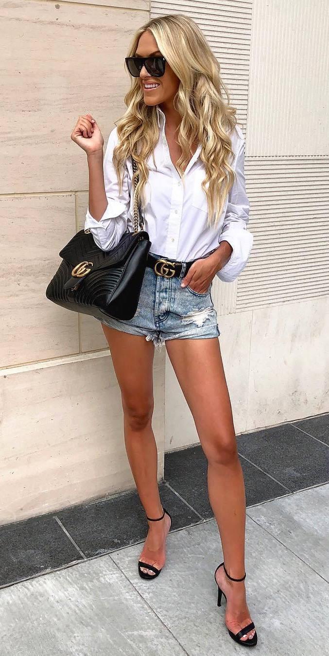 summer look   denim shorts + heels + bag + white shirt