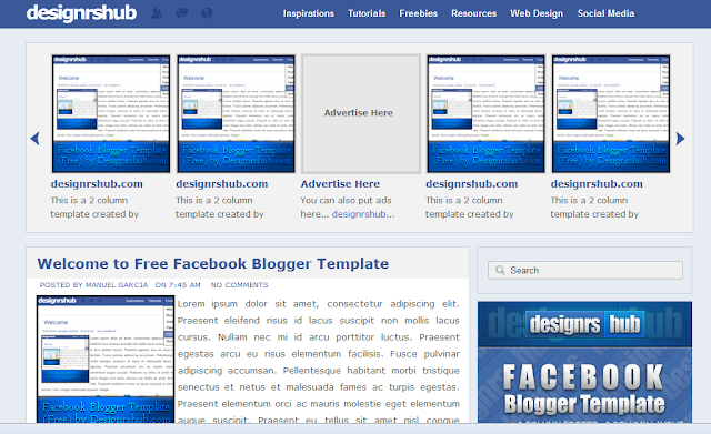 Facebook Style Blogger Template
