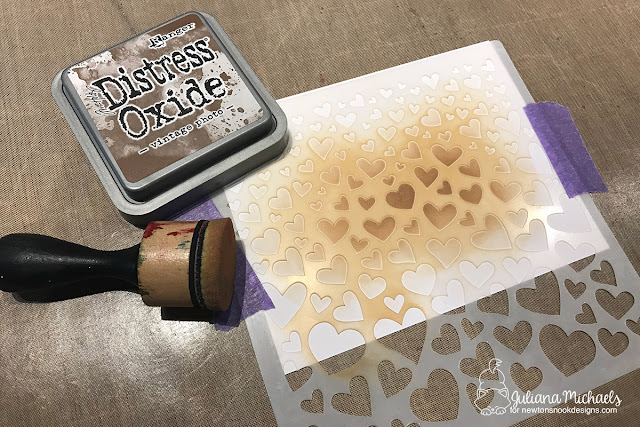 Stenciled background with Newton's Nook Designs Tumbling Hearts Stencil