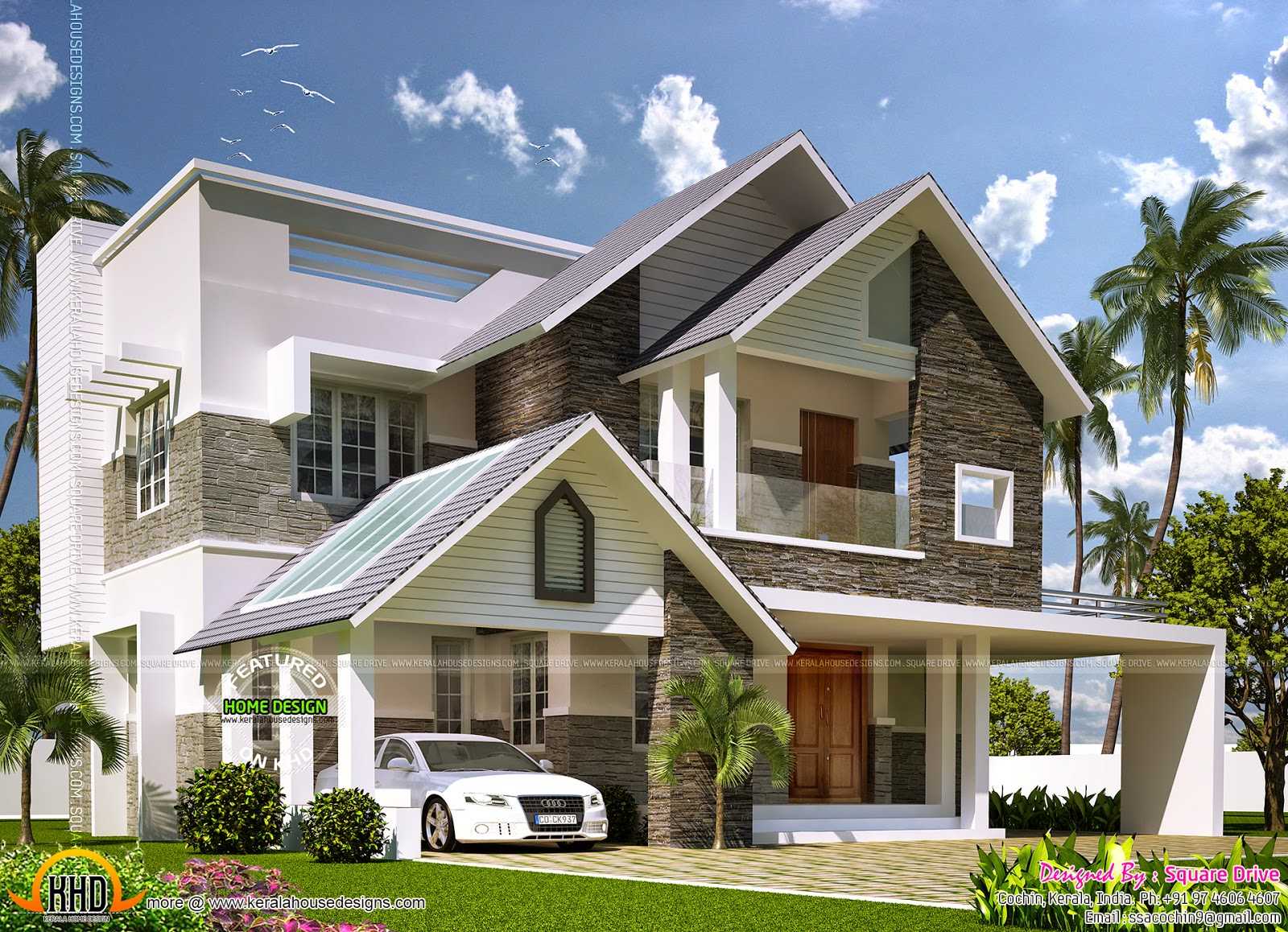 Modern sloping roof mix villa exterior kerala home for Modern home styles designs