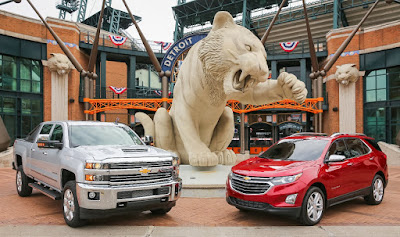 Chevy Vehicles Top Comerica Park Fountain