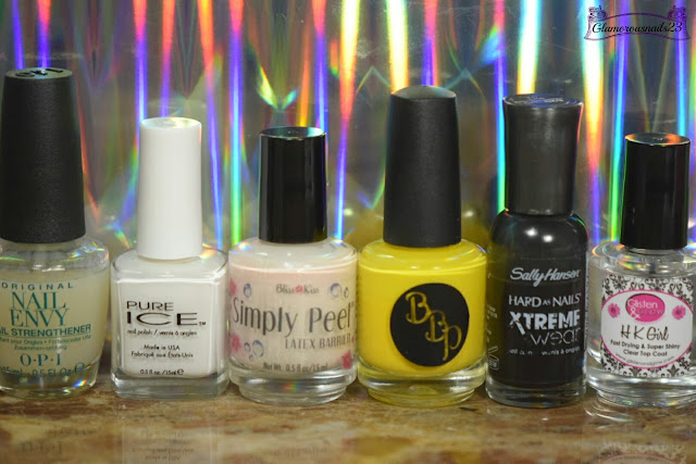 O.P.I Original Nail Envy, Pure Ice Superstar, Bliss Kiss Simply Peel Latex Barrier, Bad Bitch Polish In The Summertime, Sally Hansen Xtreme Wear Black Out, Glisten & Glow HK Girl Fast Drying Top Coat