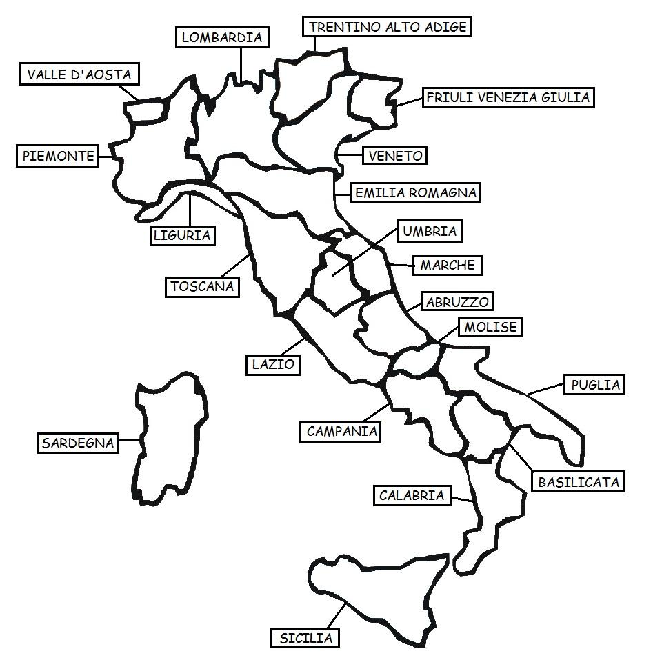Cartina Italia Da Colorare Con Regioni.Comunicaazione Regioni Da Colorare