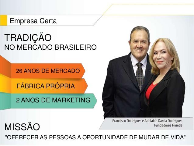 Fundadores da Empresa Hinode é Francisco Rodrigues e Adelaide Garcia Rodrigues