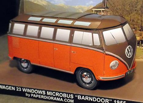 Papermau Vw Microbus 23 Windows Barndoor Paper Model By Paper