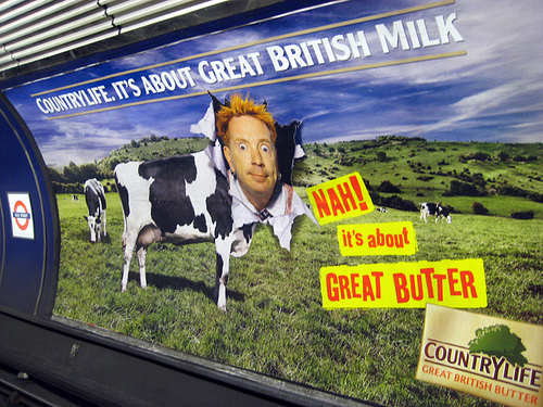 Johnny Rotten Butter ad on the Tube by Annie Mole
