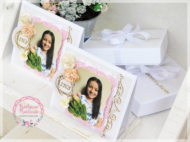 kartka, podziękowania dla rodziców chrzesnych, scrapbooking, handmade