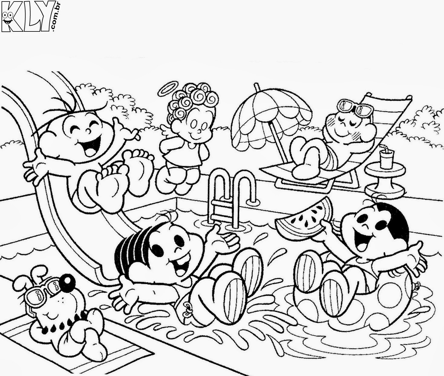 desenhos da turma da mônica no verão para colorir