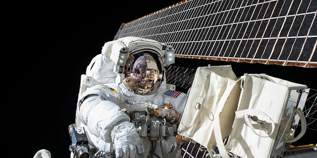 NASA astronaut Scott Kelly is seen while working outside of the International Space Station during a spacewalk on Nov. 6, 2015. Credit: NASA