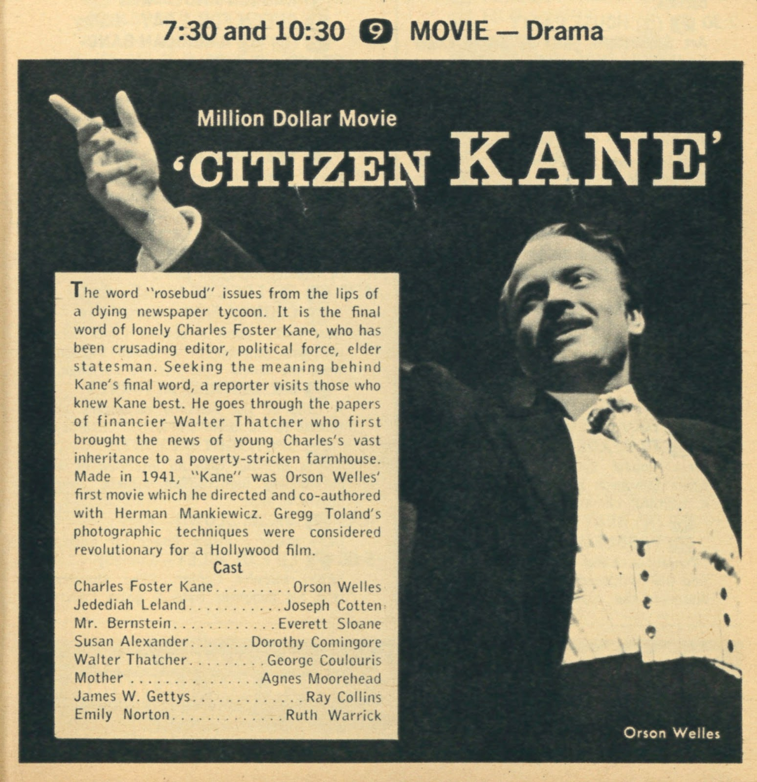 a comparison of the films citizen kane directed by orson welles and joseph sternberg the scarlet emp