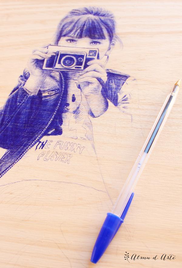 Ilustración con boli bic