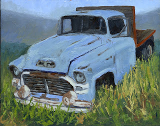painting art truck abandoned gmc flatbed old