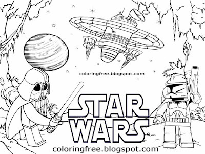 Printable legoland star wars Lego city coloring page for kids clipart spaceship superhero minifigure