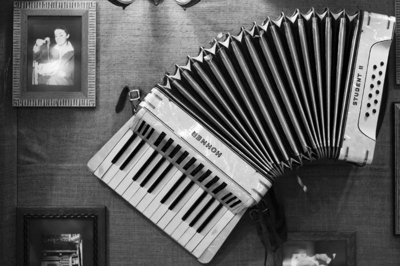 Composición artística con un acordeón