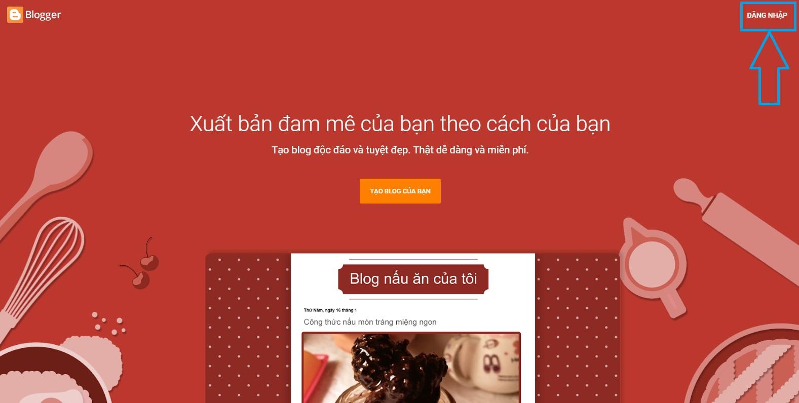 Đăng nhập vào trang chủ Blogger để tạo blog