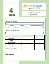 Examen del Bloque II Cuarto grado 2018-2019