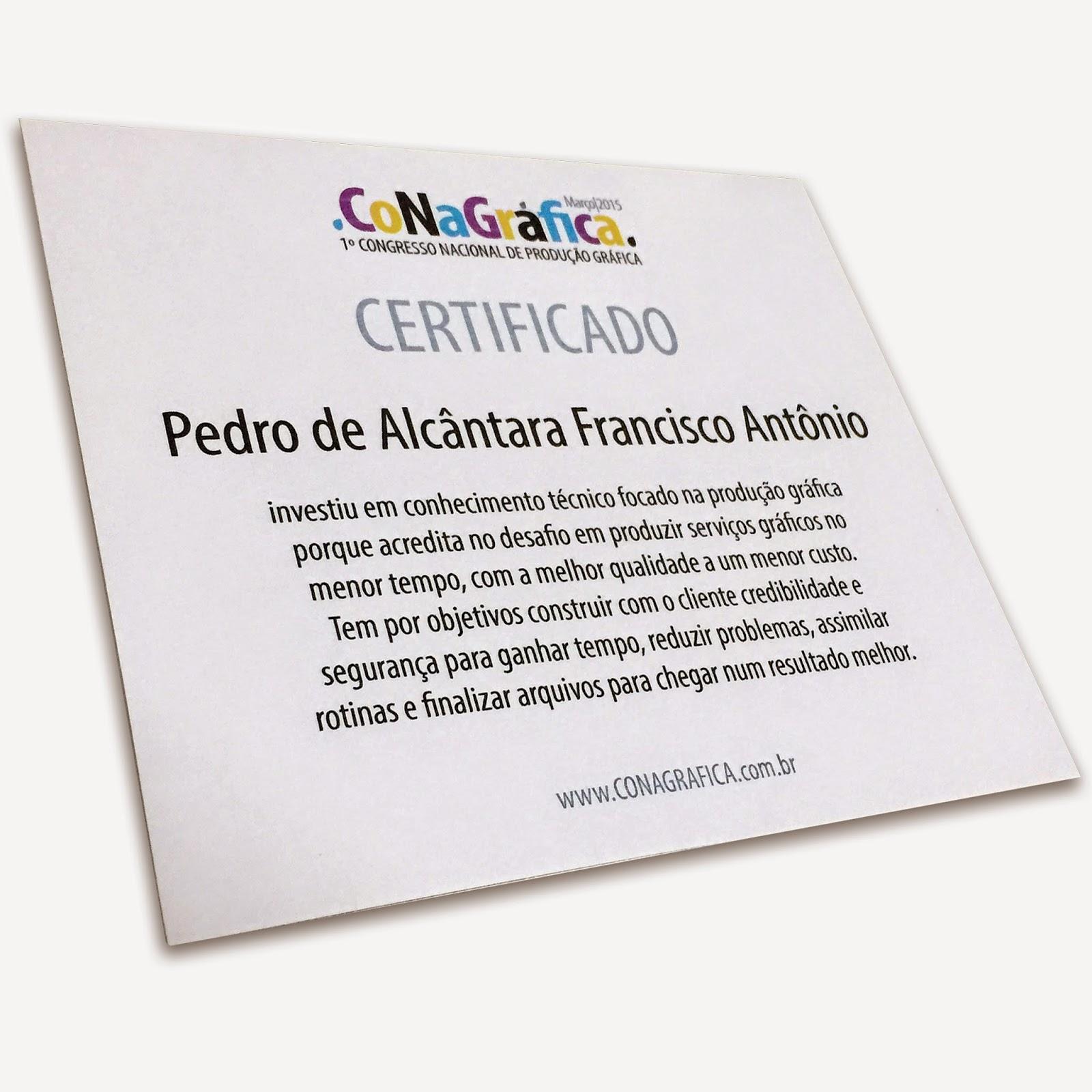 Certificado Congresso Nacional de Produção Gráfica