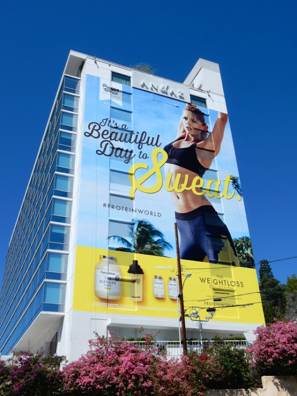 Protein World It's a beautiful day to sweat billboard