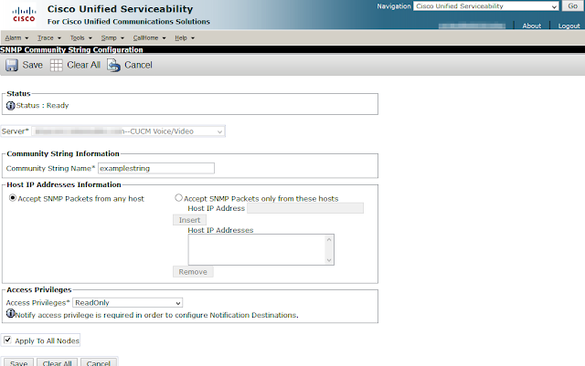 A screenshot of a community string being added through the Cisco Unified Serviceability graphical interface.