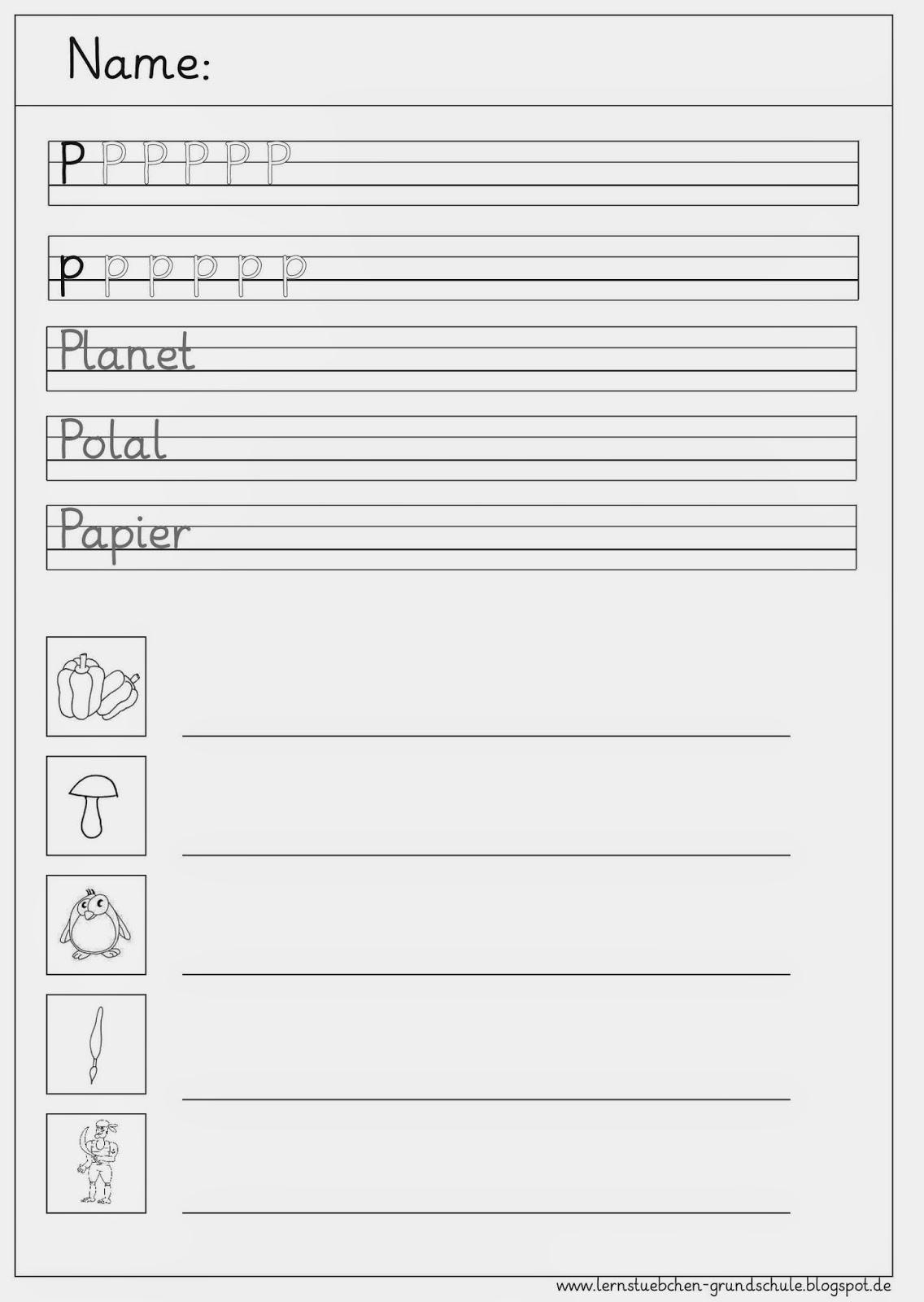 Lernstübchen: Schreibblätter zum P - p