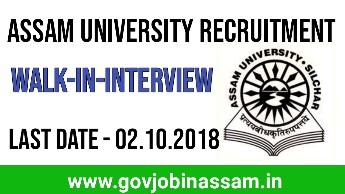 Assam University Recruitment 2018,govjobinassam