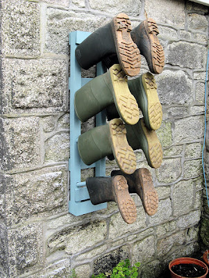 wall-mounted Welly rack