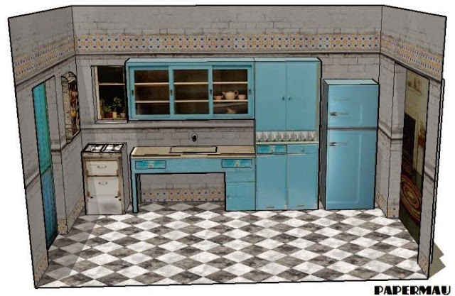Kitchen Diorama Made Of Cereal Box: PAPERMAU: The Kitchen Stand Paper Model For Mini Figures