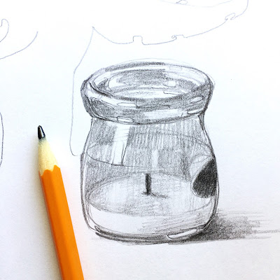 simple pencil sketch of a glass jar candle on plain copy paper using principles from Drawing on the Right Side of the Brain