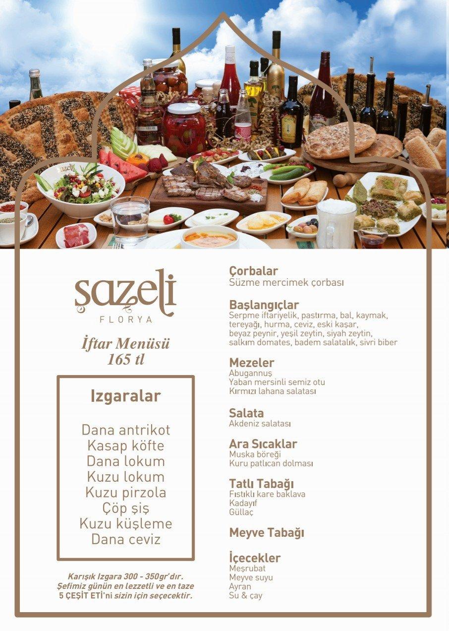 şazeli florya bakırköy istanbul ramazan 2019 iftar menüsü