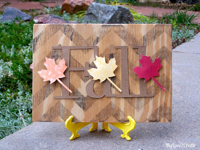 Use Image transfer and scrapbook paper to make a beautiful fall leaves sign, picture tutorial at MyLove2Create