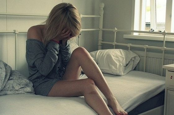 Sad Alone Crying Girl On Bed Nineimages