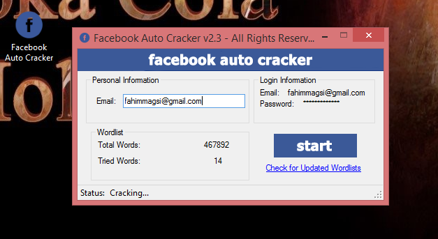 Facebook Auto Cracker V 2 3 Download 100% Working with 125600 Word