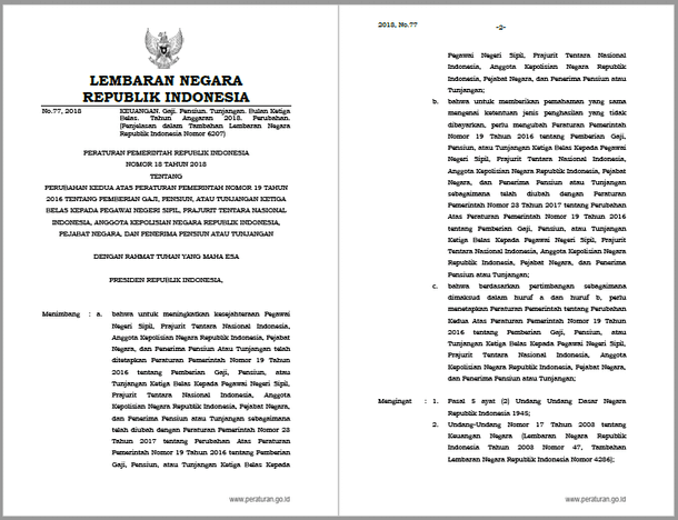 Peraturan Pemerintah PP Nomor 18 Tahun 2018 tentang Pemberian Gaji, Pensiun, atau Tunjangan Ketiga Belas kepada PNS, TNI, POLRI, Pejabat Negara, dan Penerima Pensiun atau Tunjangan Tahun 2018