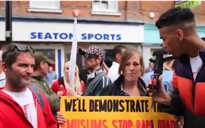 Niko Omilana - a YouTuber and comedian, went to an EDL march as an undercover racist in an attempt to expose the level of ignorance and islamophobia within the group. Press aren't allowed in EDL rallies but Omilana was granted access to the event in Telford on May 12 claiming to be a reporter with the EDL TV.