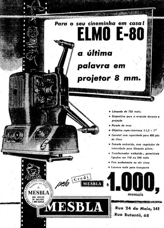 Campanha da Mesbla promovendo o projetor Elmo para exibição de filmes em casa