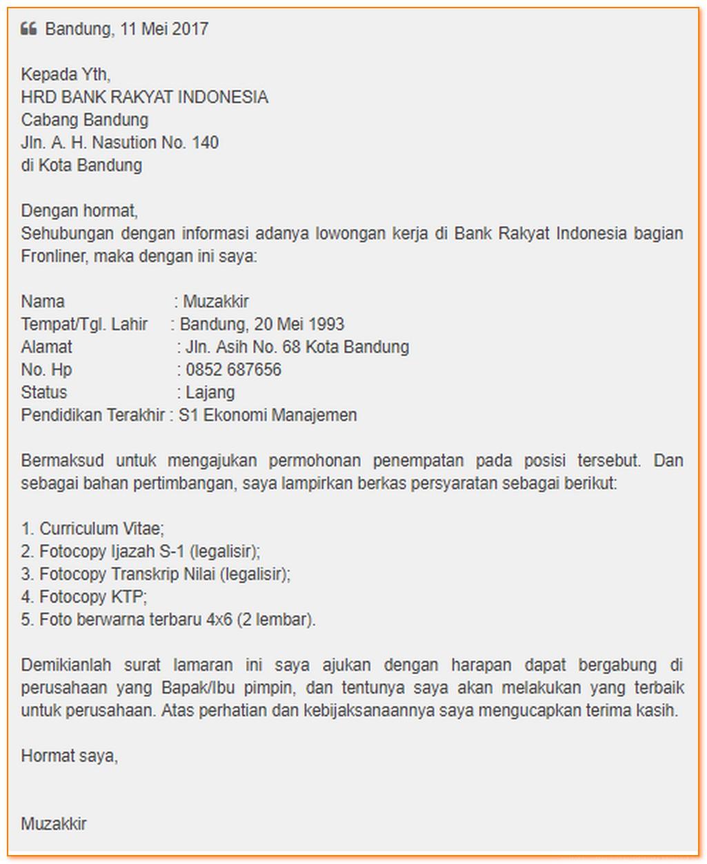 Contoh Surat Lamaran Kerja Di Bank Bri Sebagai Customer Service