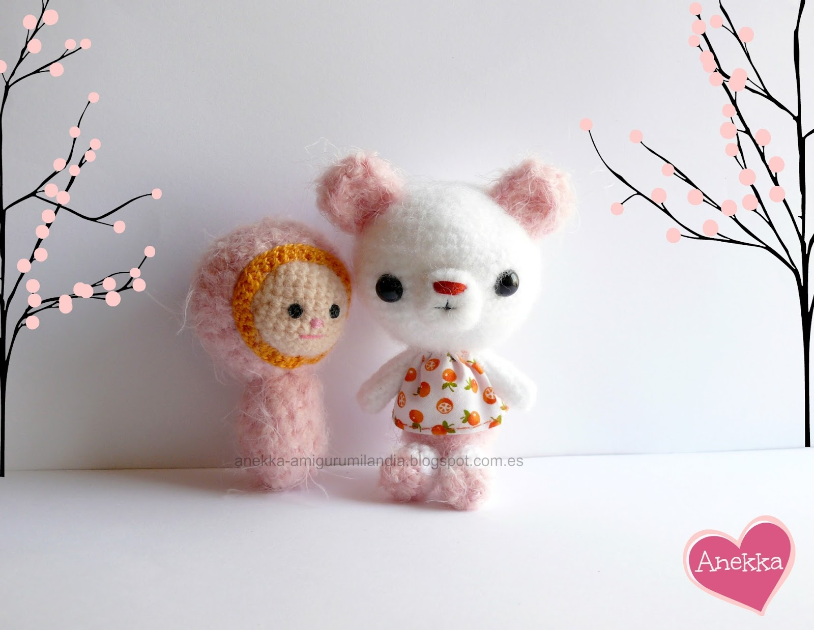 cute amigurumi  pink and white