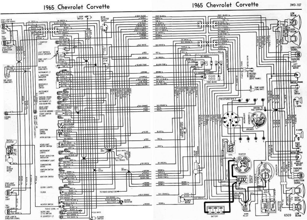 Chevrolet+Corvette+1965+Complete+Electrical+Wiring+Diagram corvette wiring diagram corvette parts diagram \u2022 wiring diagrams 65 Chevy Truck Wiring Diagram at soozxer.org