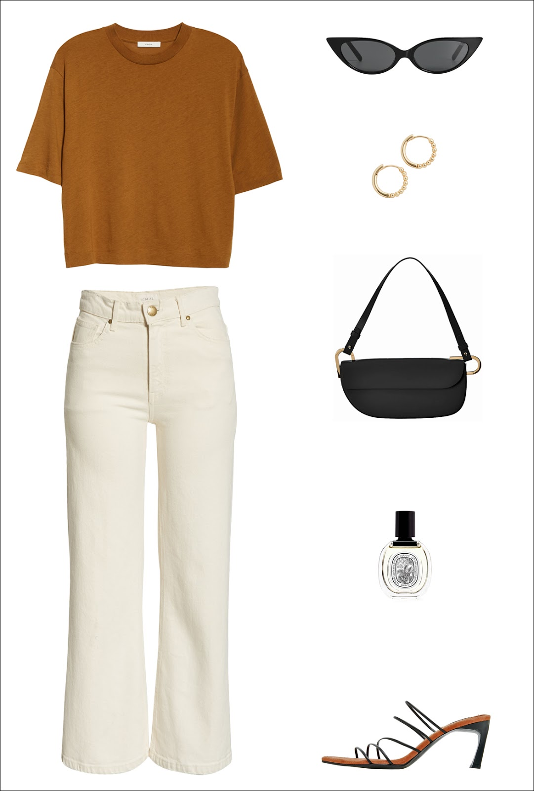 Everyday Spring Outfit Idea: Camel Tee, Black Cat-Eye Sunglasses, Ball-Studded Hoop Earrings, '90s-Inspired Black Shoulder Bag, Off-White Jeans, Diptyque Rose Spray, Reike Nen Strappy Sandals