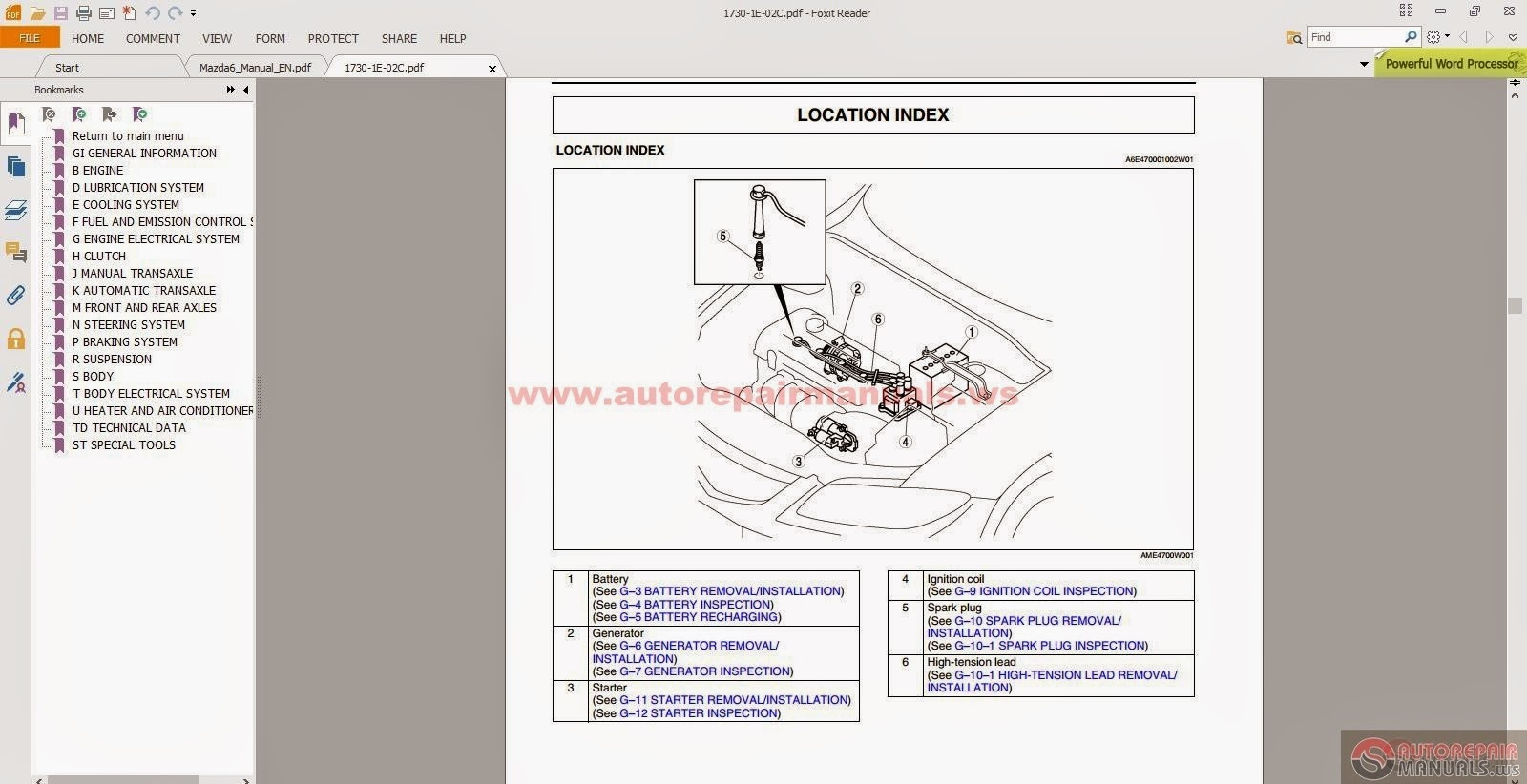 Free Automotive Manuals Mazda 6 Full Workshop Manual Inc Engine 2006 Diagram