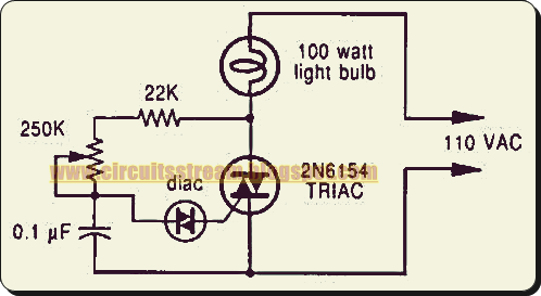 Simple Phase Controlled Dimmer Circuit Diagram