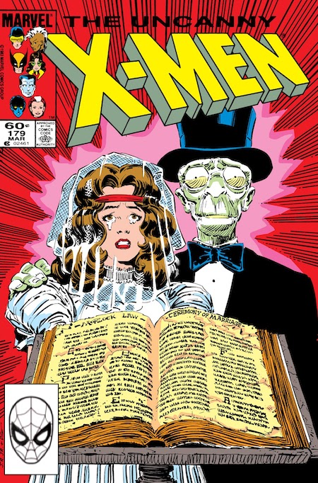 Cover of X-Men issue with Ariel in wedding dress next to Caliban in tux, open bible on stand in front of them