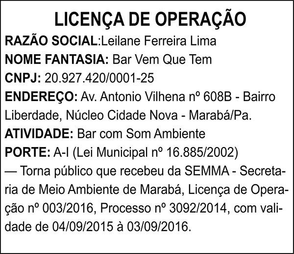 LICENÇA DE OPERAÇÃO - LEILANE FERREIRA LIMA