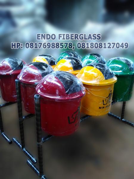 Tempat Sampah Fiberglass 3in1 Organik Non-Organik