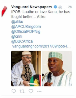 Biafra: Atiku threatens to sue Vanguard over 'false' comments about Nnamdi Kanu