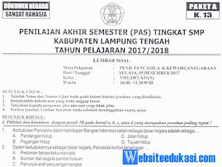 Naskah Soal PAS/ UAS PKn Kelas 8 K13 Tahun 2018/2019