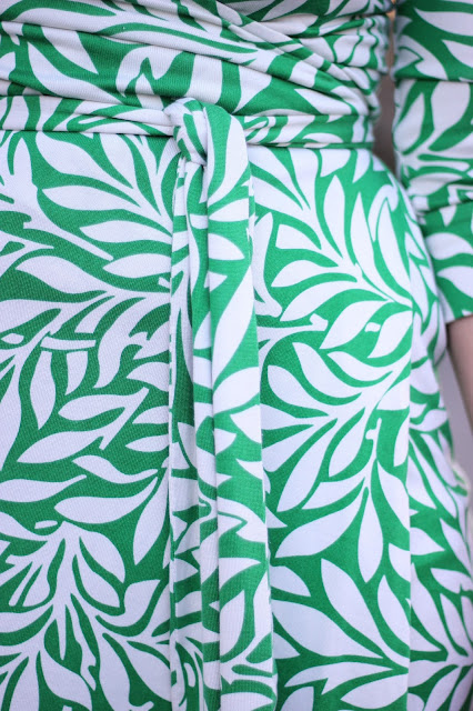 DVF Green and White Laurel Print