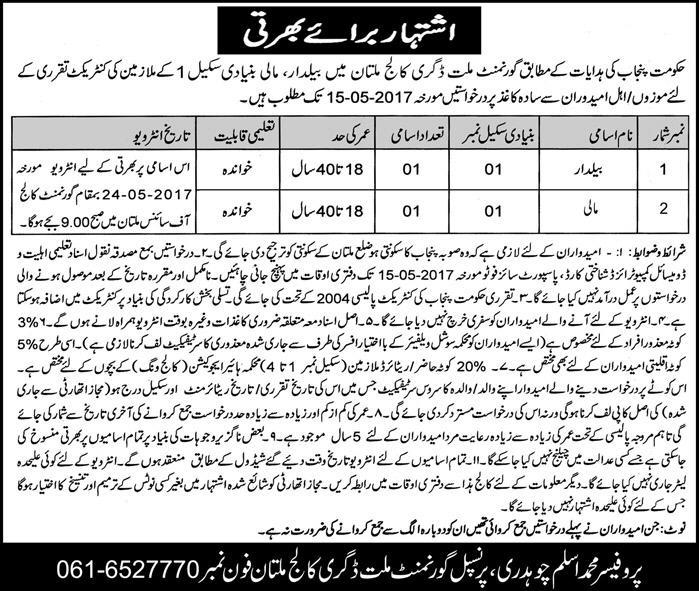 Multan NUML Jobs In Govt Millat Degree College Multan 3 May 2017
