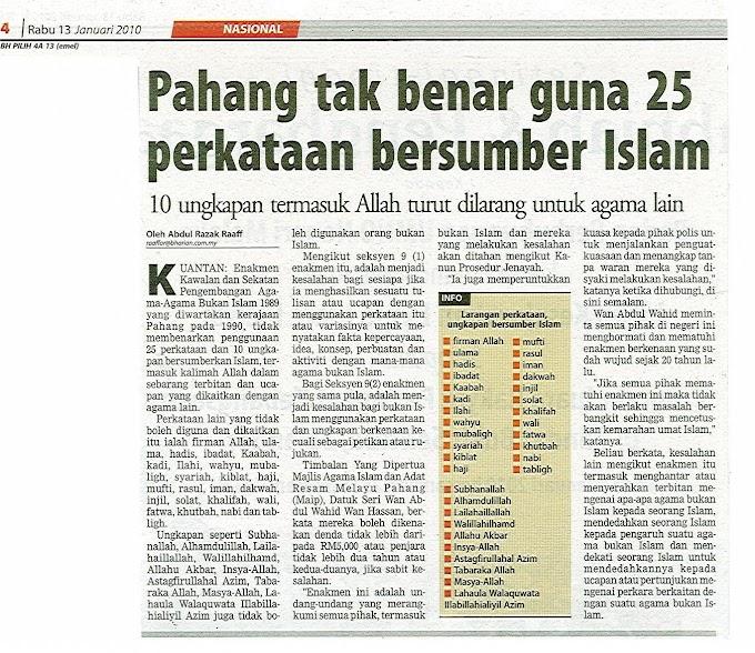 Pahang tak benar guna 25 perkataan bersumber Islam