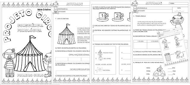 Projeto Circo Atividades Consciência Fonológica Primeiro Ciclo Fundamental I